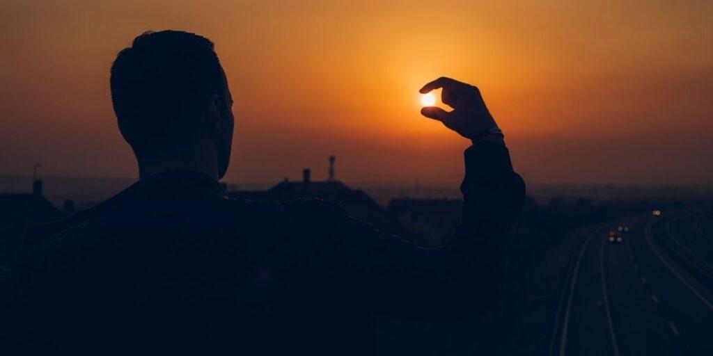 man sunset view